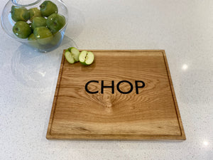Solid Oak Chopping Board with Inlaid Wording