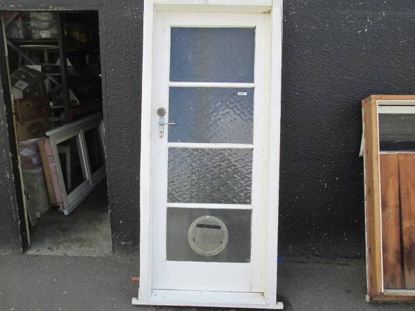 4 Lite Exterior Door in Frame comes complete with Cat Flap - Frame 2060H x 860W x 140D/Door 1980H x 810W