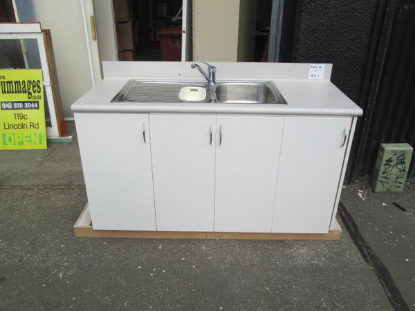 White Kitchen Unit complete with Stainless Sink & Tap with insinkerator(1510W x 810H)