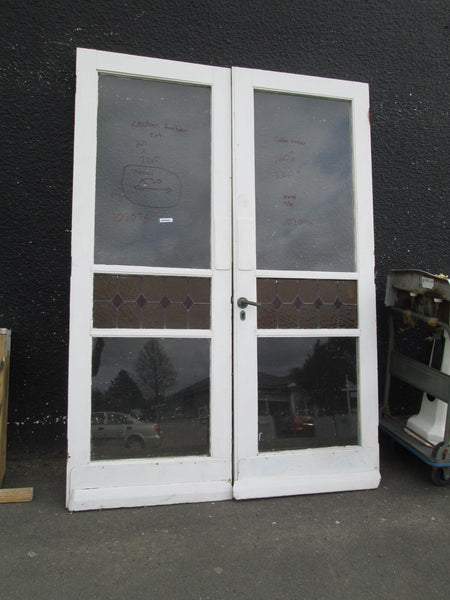 Exterior Amber & Red Leadlight French Doors 2140H x 1530W