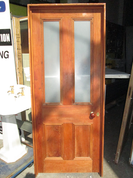 Front Entrance or Internal  Heart Rimu Statesman Villa Door with Safety Glass 1990H x 815W