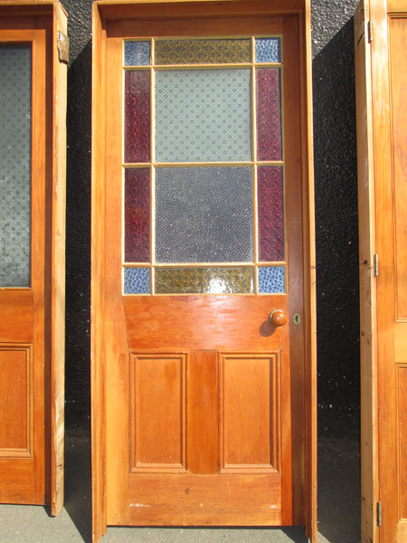 Heart Rimu Statesman Parlour Door with Red/Blue/Amber & Clear Antique Glass  2010H x 785W