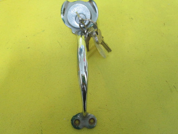 Art Deco Chrome Door Pull with Key Hole and Thumb Turn Lock