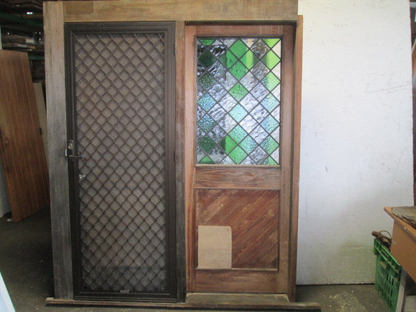 Tongue & Groove with Leadlight Front Entrance which includes Fly Screen(2060H x 1680W x 140D)