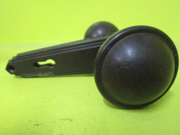 Art Deco Bakelite Door Handle with Round Knobs & Stepped Triangle Plate