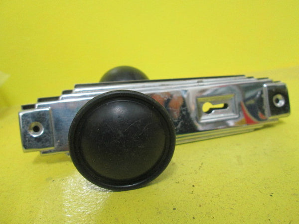 Art Deco Black Bakelite Door Knob with Chrome Stepped Plates(Knob 50D X45H/Plate 180L x 50W)