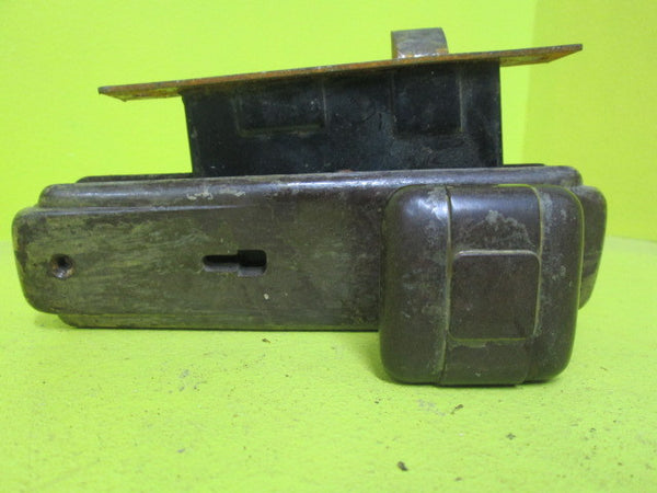 Art Deco Bakelite Square Door Knob with Long Rectangle Plate & Mortice(Knob 55 SQ/Plate 75L x 55W/Mortice Axial 60)