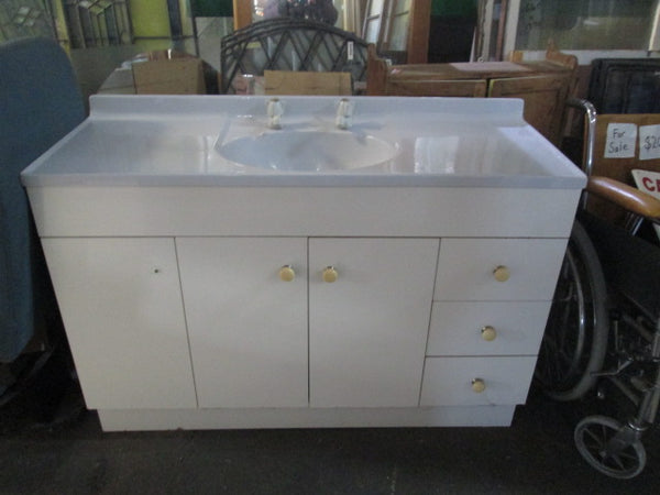 Light Blue Acrylic Top and White Vanity 810H x 1200W x 460D
