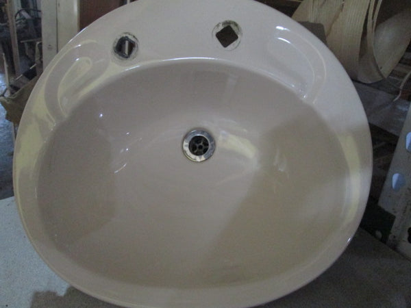 Almond Insert Basin with down pipe 510L x 460W