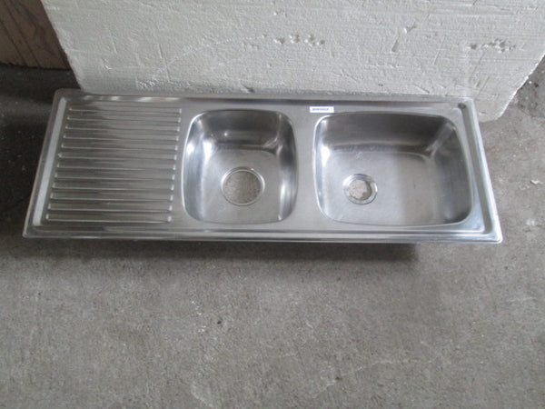 Stainless Steel Double Sink with Drainer 1100W x 150H x 410D