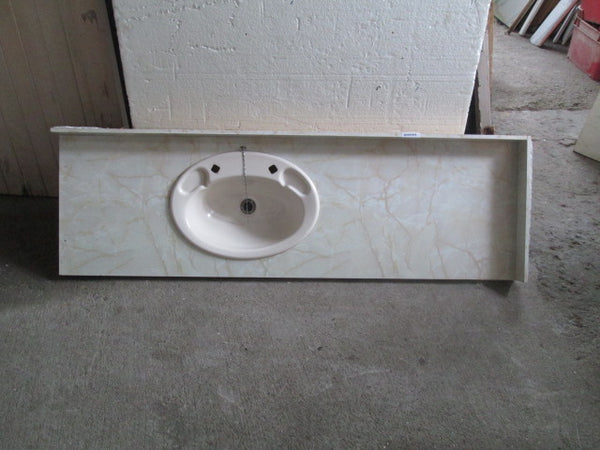 Long Vanity Top with White Basin 1630L x 500D