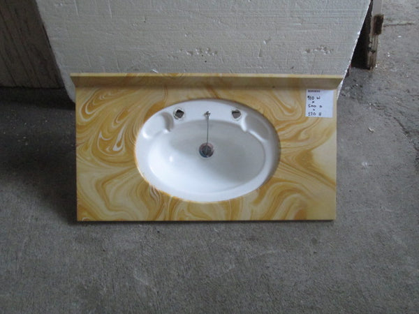 Marble effect Vanity Top with White Basin 910W x 500D x 220H
