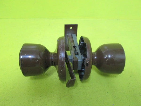 Brown Coated Door Knob with Mortice Latch Lock 50D x 65H/Plate 65D