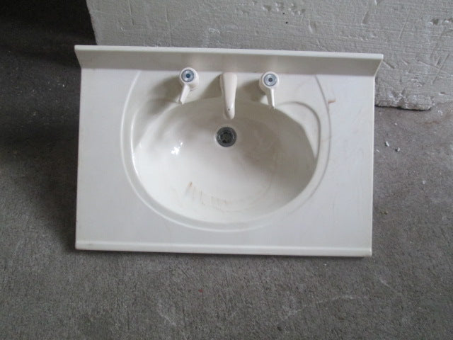 Creamy Colour Vanity Top with Tapware 750W x 500D