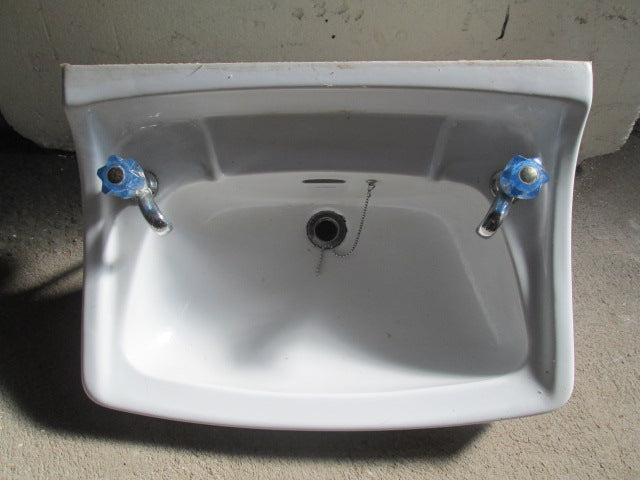 Porcelian Wall Mounted Basin with Taps 630W x 420D x 250H
