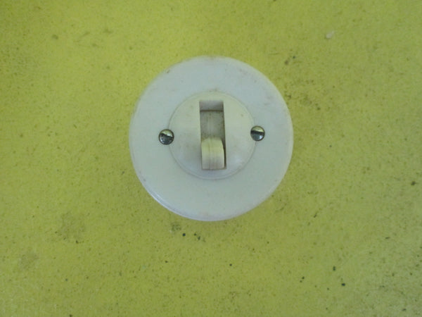 White Bakerlite & Porcelain Straight Sided Rocker Switch 50D x 30H