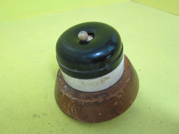 Porcelain & Brown Bakelite Toddle Switch with Wooden   Mount 54D x 40H/Mount 85D x 21H