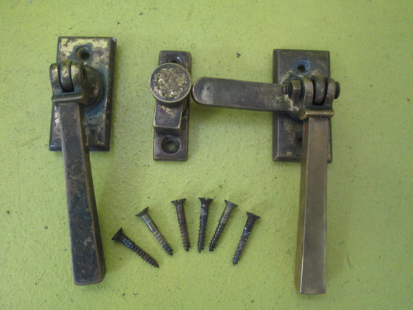 Art Deco French Door Latch set Plate 60L x 30W / Lever 95L x 35H