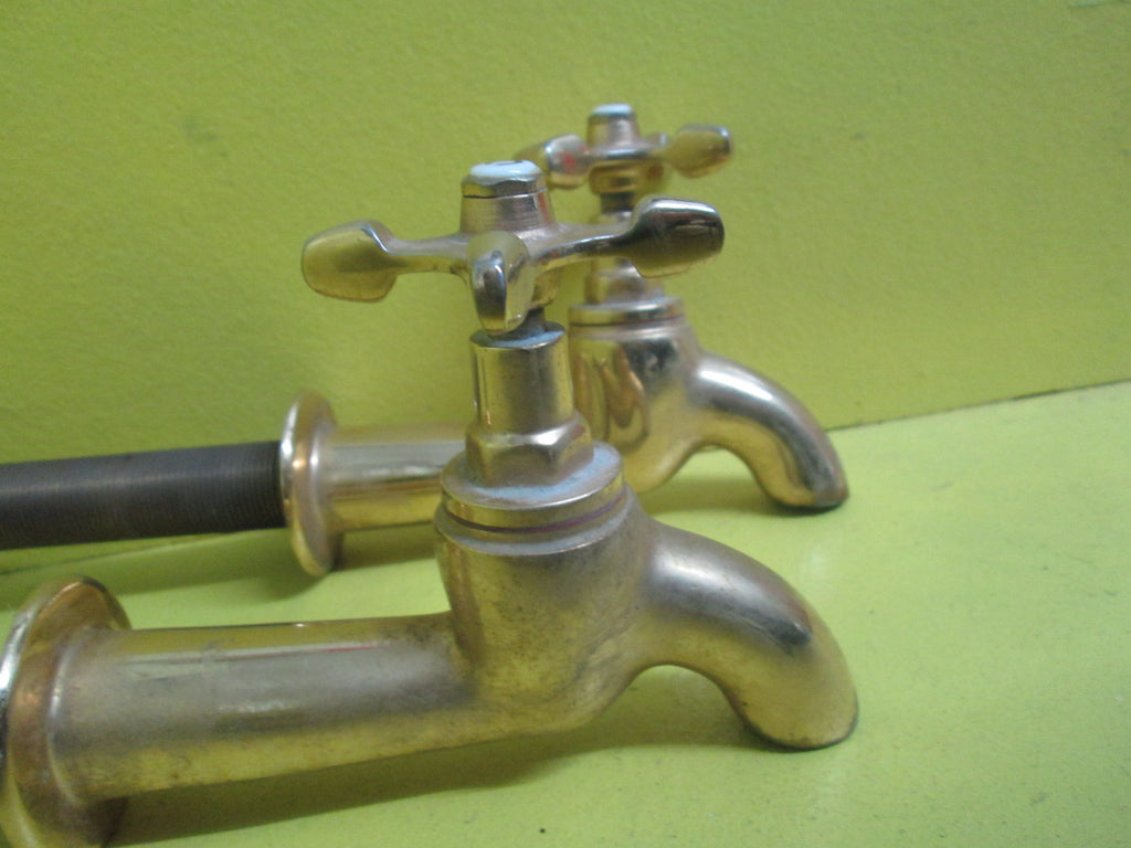 Brass Modern Bath Taps with Porcelain Hot & Cold Caps 25BSP