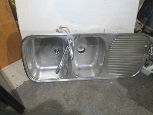 Stainless Steel Double Sink with Mixer Tap 1100L x 490W