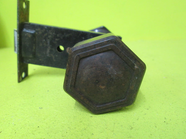 Art Deco Brown Bakelite Door Latch with Rib Edge Hexagonal Knob & Square Plate & Mortice