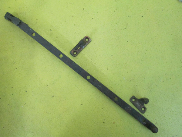 Antique Brass Ball End Casement Stay & Fasteners 368L x 13W
