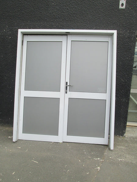 White Aluminum 1 Lite Obscured French Doors 2000H x 1700W