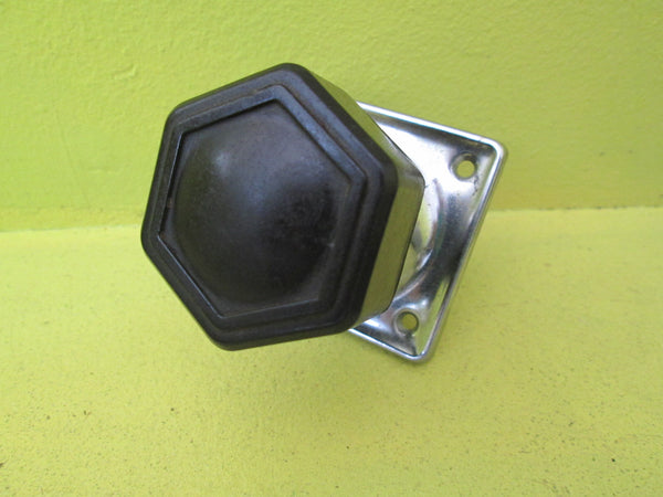 Art Deco Black Bakelite Hexagonal Hallway Knob with Chrome Square Plate 55SQ/Knob 45D