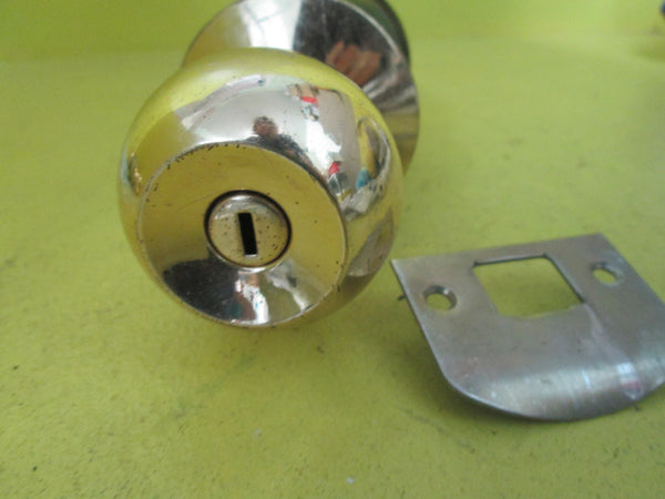 Brass Effect Yale knob  & Brushed Chrome Push Button Handle 180L x 55D x 70D