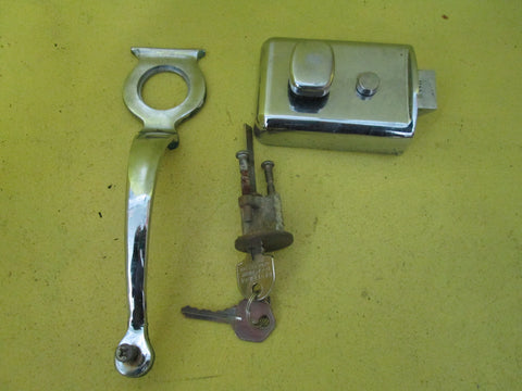 Art Deco Chrome Door Pull with Key Hole & Barrel and Night Latch