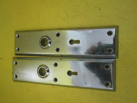 Chrome Rectangle Bevelled Edged Door Plates 215L x 55W x 8D