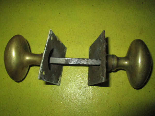 1890's Solid Brass Oval Handles, Door Plate & Axle 40-60W x 60H/ 55Sq
