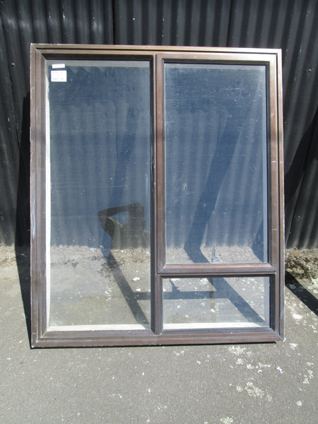 3 Lite Brown Aluminum Window with Opening Lite 1460H x 1235W