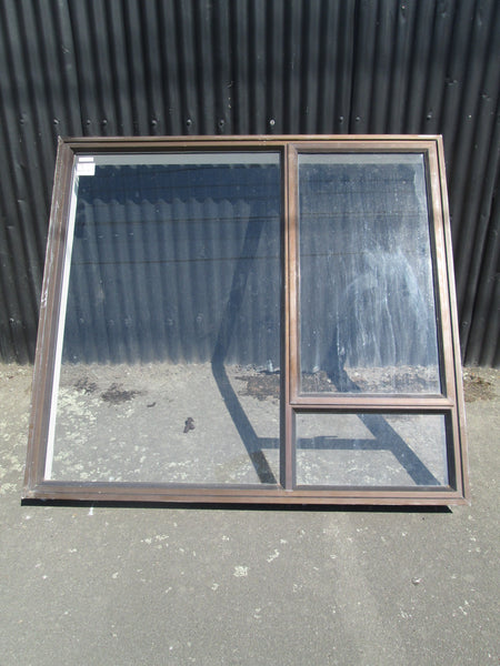 3 Lite Brown Aluminum Window with Opening Lite 1460H x 1595W