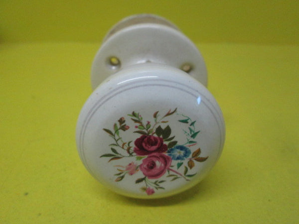 Bouquet of Roses Porcelain Door Knobs & Plate