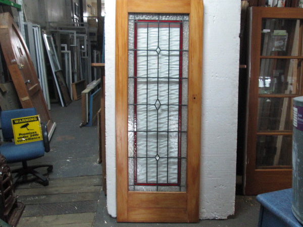 Leadlight Door with Red & Clear Vintage Glass