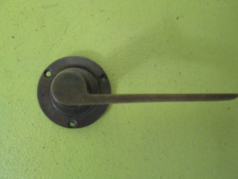 Art Deco Solid Brass Lever Handle on Circular Plate