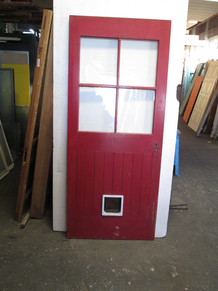 4 Lite T & G Door with a Cat  Flap 1970H x 845W x 40D
