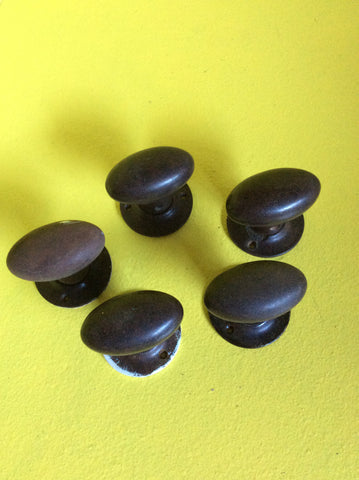 Oval Brown Bakelite Knob Handle with Circular Door Plate