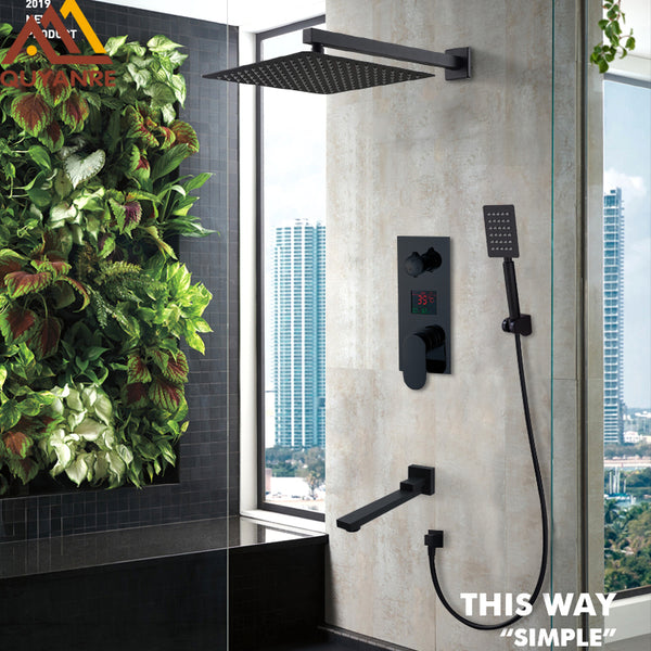 Black LED Digital Display Shower  Set Rain Waterfall