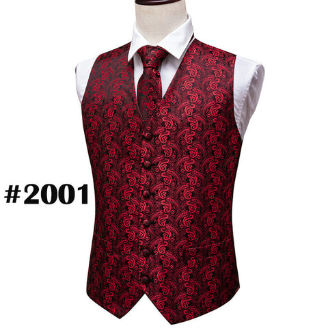 Red Paisley Jacquard Silk Waistcoat Vests Handkerchief  Tie Vest Suit Pocket Square Set Barry.Wang