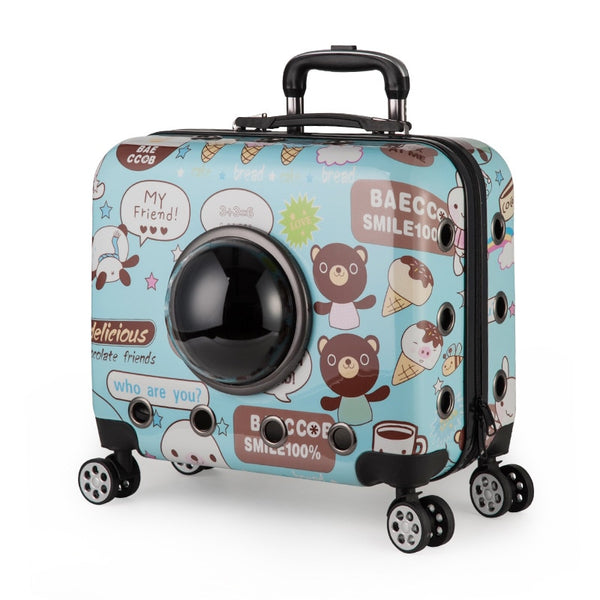Portable Cartoon Pet Trolley Box for Small Dog Cat