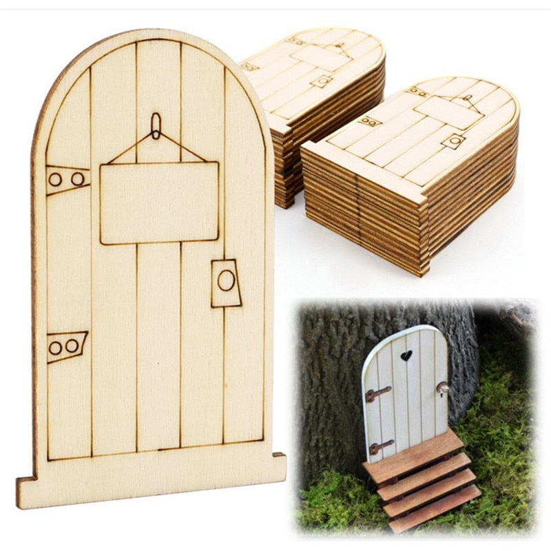 5pcs/lot Laser Cutting Fairy Door Wooden For Home Garden Outdoor