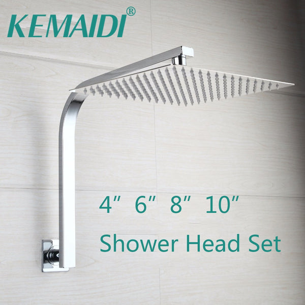 KEMAIDI  Shower Faucets Gooseneck Square Brass Wall Mount Shower Arm Ultrathin