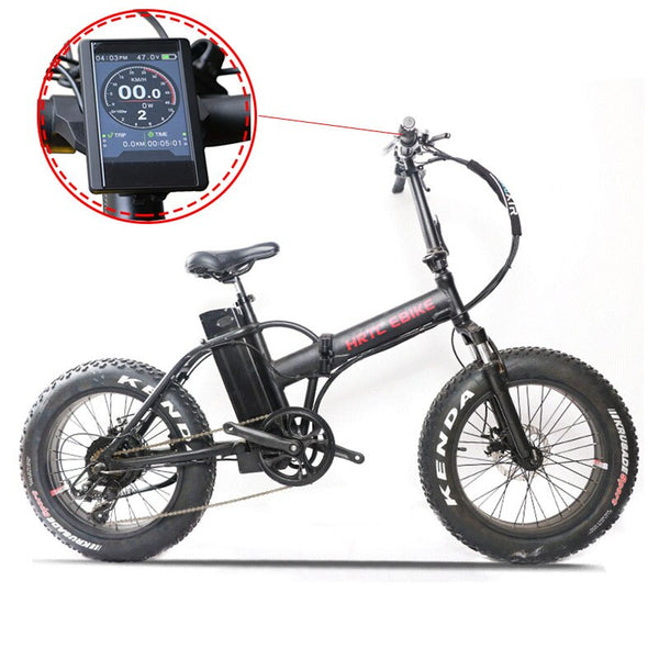 20inch 48V500W fat ebike 4.0 wide tire 7 speed folding electric mountain bike