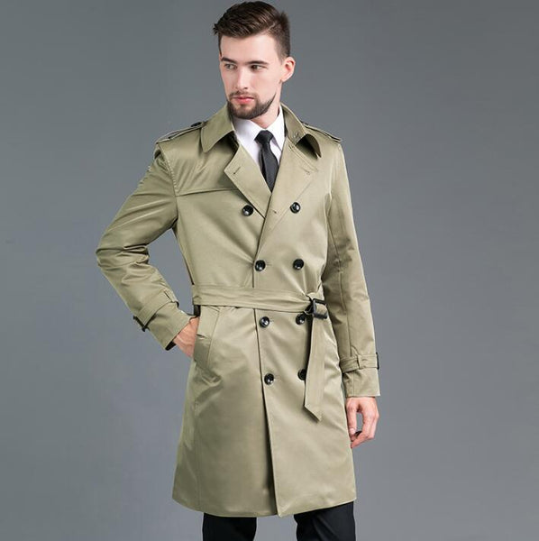 Mens Medium length Double-breasted Trench Coat slim fit