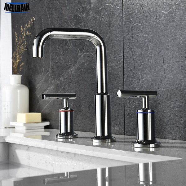 100% Soild Brass Bathroom Basin Water Mixer Separate Style Sink Faucet Chrome Matt Black Brushed Gold Tapware