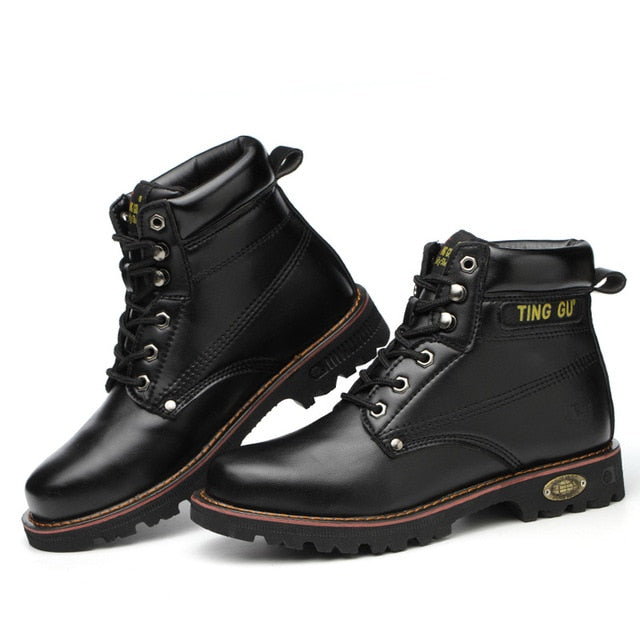 Men Steel Toe Breathable Leather Work Boot