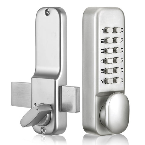 Mechanical Digital Push Home Button Door Lock Waterproof Password Keypad Code with Keys