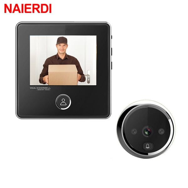 "NAIERDI 3"" LCD Screen Digital Door  Electronic Door Viewer Bell IR Night Door Peephole"